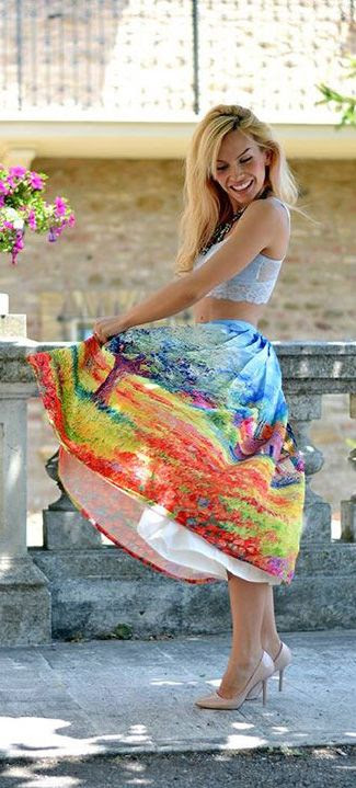 summer print skirt - obviously not the way the outfit is done, but I love midi skirts for teaching!
