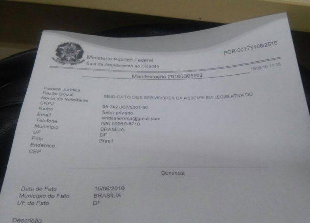 Protocolo de uma das representações feitas pelas entidades na PRG pedindo investigação contra os Poderes Judiciário, Executivo e Legislativo do Maranhão