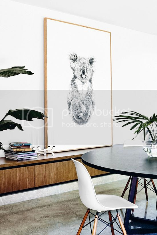 ETC INSPIRATION BLOG LIGHT MODERN MELBOURNE AUSTRALIA HOME MID CENTURY MODERN WALL UNIT CABINETS PENCIL DRAWING WOOD FRAME KOALA BY CARLA FLETCHER WHITE BUCKET CHAIRS WITH WOODEN LEGS PALM PLANTS ROUND CINIG TABLE 1 photo ETCINSPIRATIONBLOGLIGHTMODERNMELBOURNEAUSTRALIAHOME1.jpg