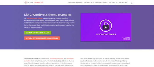 Web design inspiration sites - Divi Theme Examples