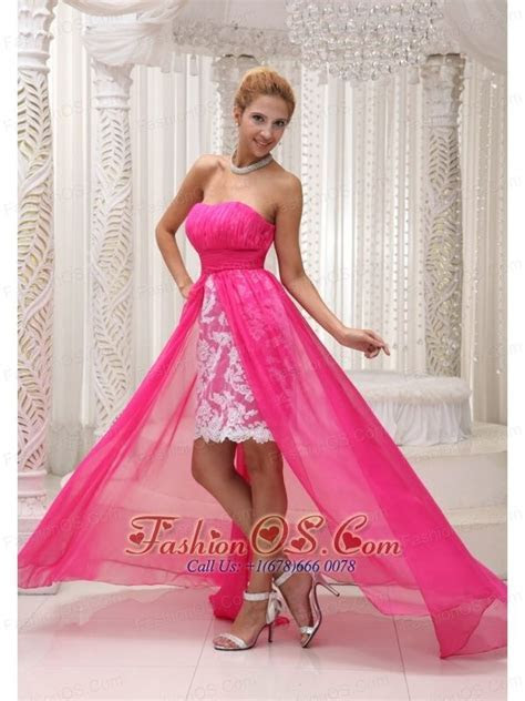 low price pink camo wedding dress   Hot Pink High low Prom