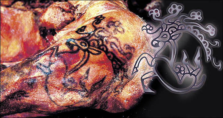 The tattoo of a horse on the left arm of Princess Ukok's mummy