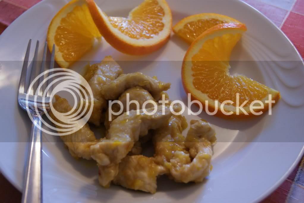 Straccetti di pollo all'arancia ed aceto balsamico