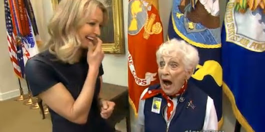Real-Life Rosie The Riveter Caught Stealing Kiss From Obama