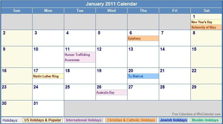 2011 calendar printable january. January 2011 Calendar with
