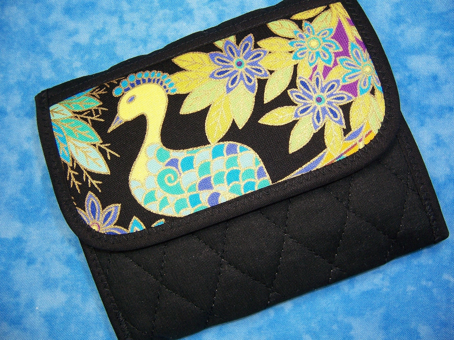 Women Wallet Small Wallet - Fabric Trifold Peacock Quilted - Ready to Ship
