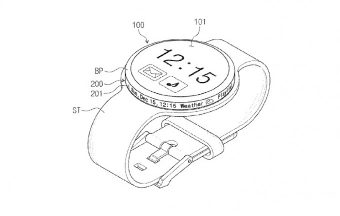 Patente de Samsung muestra un smartwatch con una pantalla en el bisel giratorio