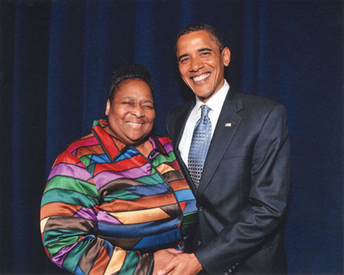Iris Steveson with President Barrack Obama