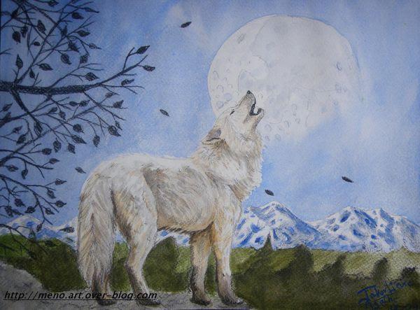 Loup Hurlant Au Coucher De Lune Menoart