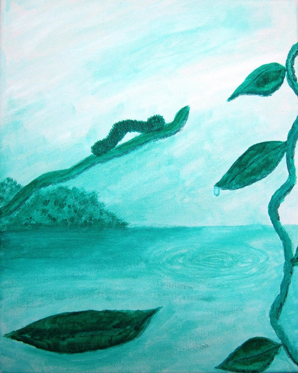 "Caterpillar Painting - ""Just A Little Farther"" - Green Monochromatic Canvas"