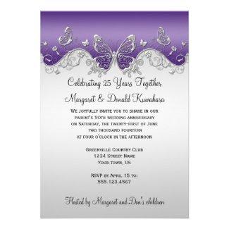 Purple Silver Butterflies 25th Anniversary