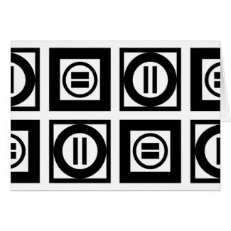 Black and White Geometric Equal Sign Pattern Greeting Card