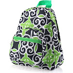 "Zodaca 11.5"" Small Stylish Kids Backpack Schoolbag Outdoor Shoulder Bag Bookbag School Bag for Kids Girls Boys - Green/Navy Swirls (Size: 9.25"" L x"