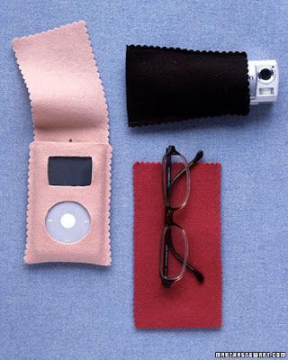 porta óculos i-pod máquina fotográfica feltro