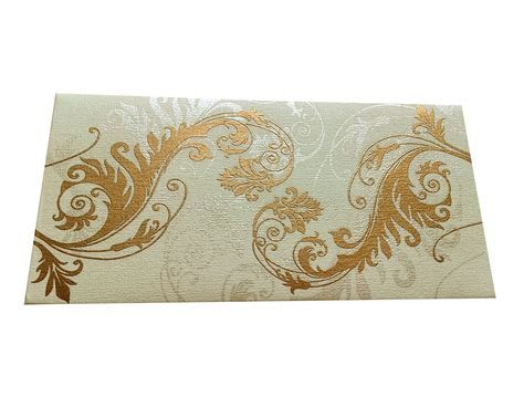 Indian Money Envelope in Ivory with Designer Floral Theme