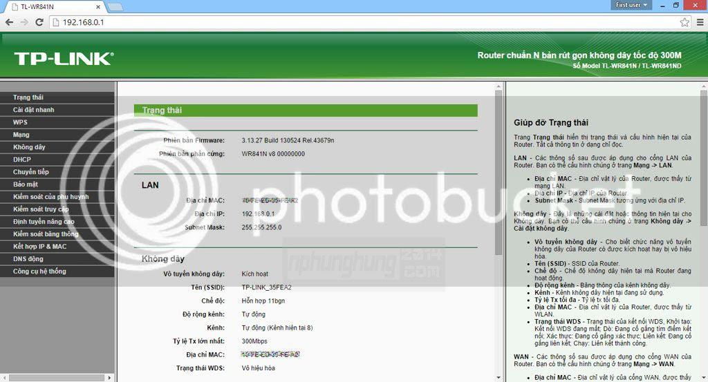 Giao diện trang quản lý Router