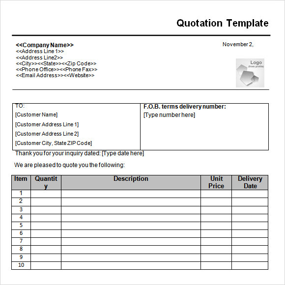 Quotation Template - 19+ Documents in PDF, Word, Excel