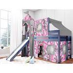 JACKPOT! Princess Low Loft Twin Bed with Slide Pink Camo Tent and Tower, Blue