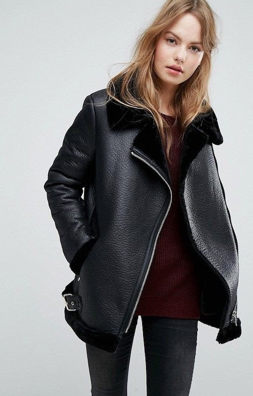 Affordable Under 100 Black Shearling Aviator Leather Jacket Acne Studios Inspired Fall Winter Must Have Outfit Le Fashion Blog