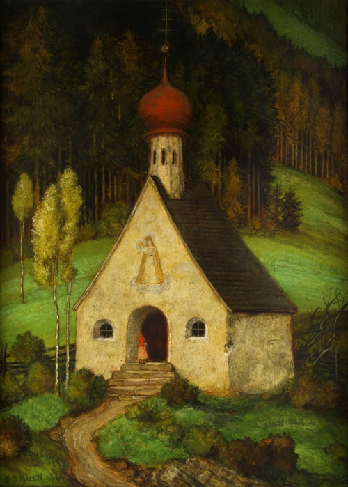 painting-by-the-GermanAustrian-artist-Matthäus-Schiestl-1869-1939-of-a-young-girl-visiting-a-chapel-in-the-woods..jpg (500×699)