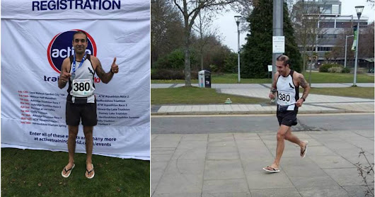 Hayes dad-of-two smashes half marathon world record....wearing flip-flops