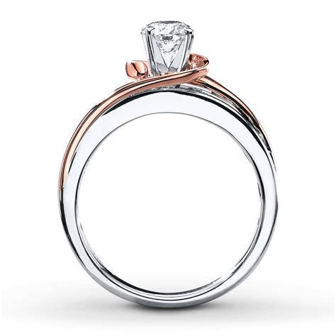 1 Carat Unique Round Two Tone White and Rose Gold