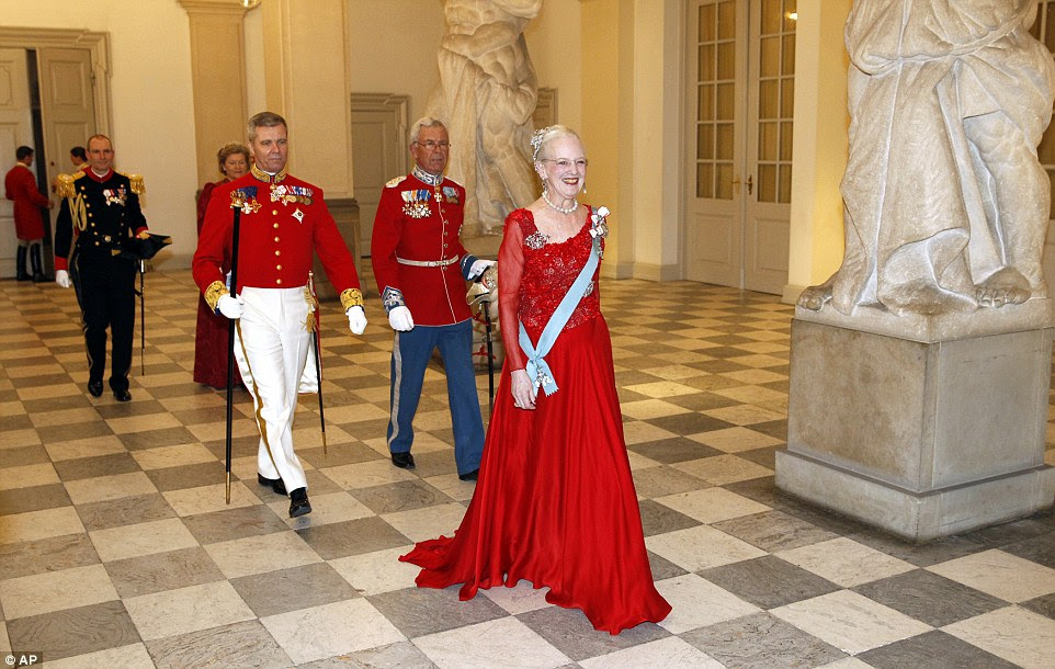 Regal: Denmark's Queen Margrethe is celebrating her 75th birthday today and kicked off celebrations last night
