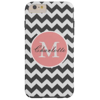 ZigZag Chevron Chic Monogrammed Pink Grey Pattern Tough iPhone 6 Case