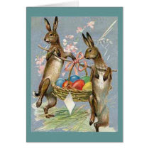 Vintage Easter Rabbits with Eggs Card