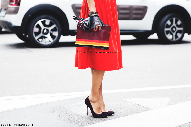 Milan_Fashion_Week_Spring_Summer_15-MFW-Street_Style-Red_Dress-Striped_Bag-