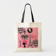 French Girly Eiffel Tower, Puppy & Damask Elegant Bag