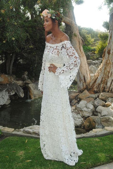 off shoulder ivory lace long dress also available in white
