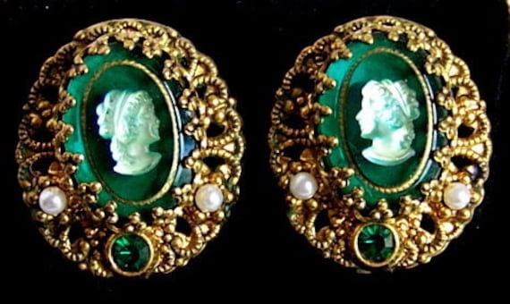 Victorian Cameo Clip Earrings in a Dark Emerald Green w/ Gold tone Filigree