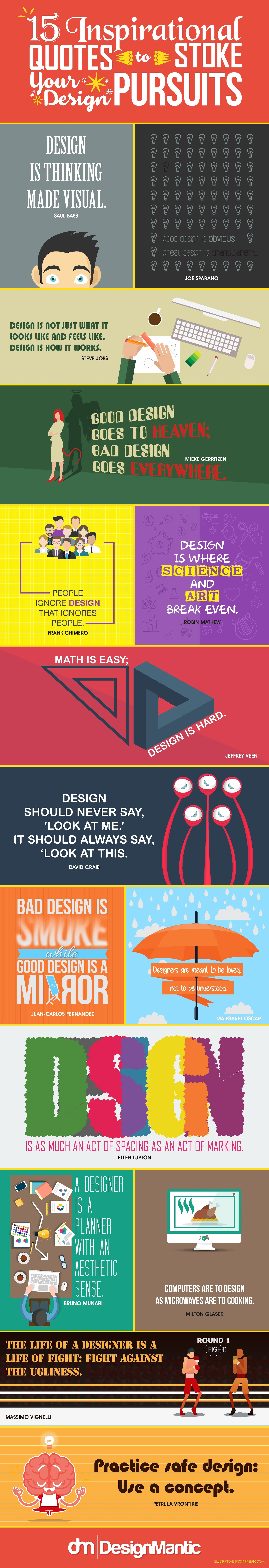 15 Inspirational Quotes To Stoke Your Design Pursuits - #infographic
