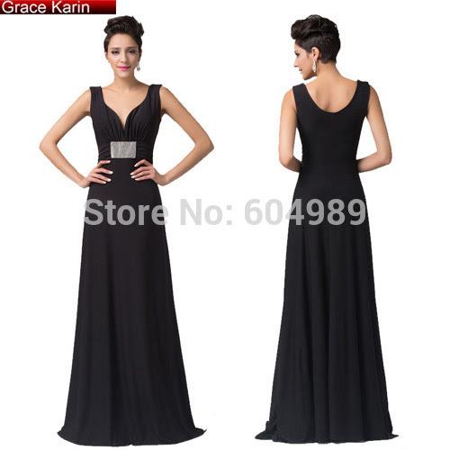 Designer black evening dress