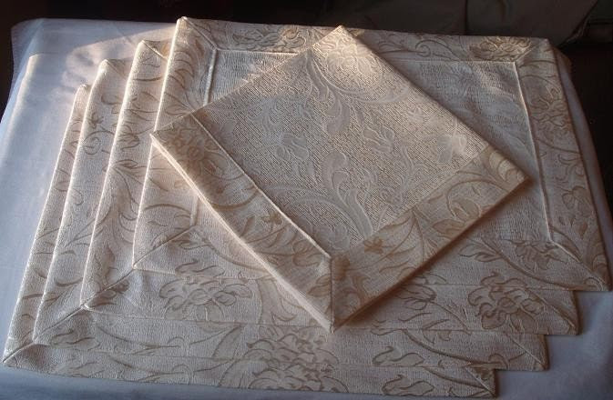 Gold and Cream Damask Floral Placemats and Matching Napkins (Set of 4)