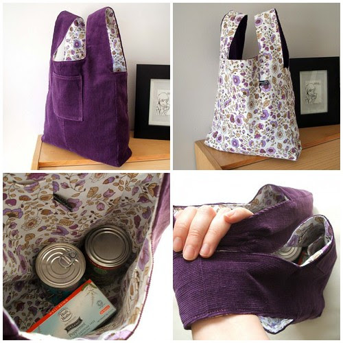 Damson and lilac reversible market tote bag