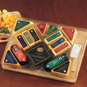 Ultimate Gourmet Cheese and Sausage Collection with Cutting Board