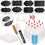 Juvale 4 oz 16 Pack Clear Plastic Squeeze Bottles with Red Tip Caps and Measurement, Set of 16 with Extra Chalk Labels, Marker Pen and Cleaning Brush