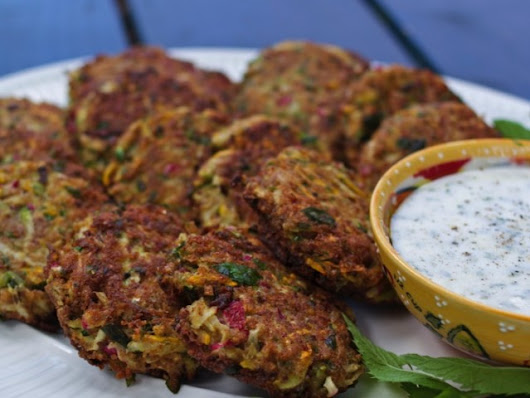 Radish & Zucchini Latkes with Yogurt-Mint Dipping Sauce