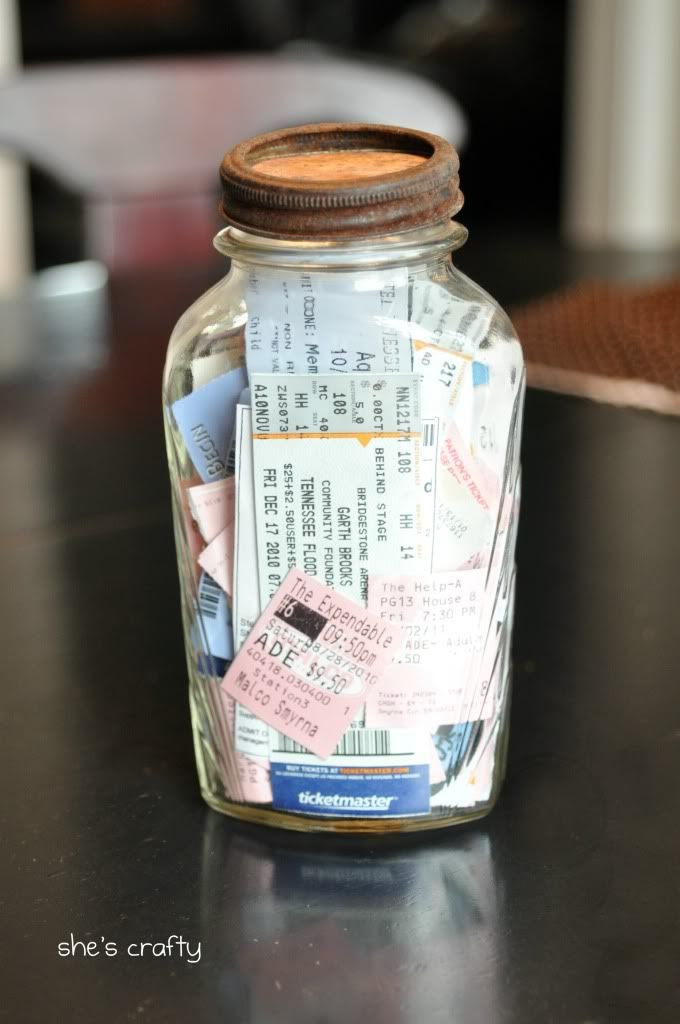 vintage jar, ticket collection, memory collection