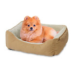 "Bojobo Yf89108n Flocking Fabric W/ Plush Fur Small Pet Bed, Tan/white, 24""x18"""