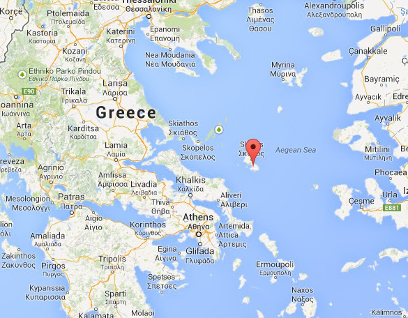 Map marking the location of Skyros Island. (Credit: Google Maps)