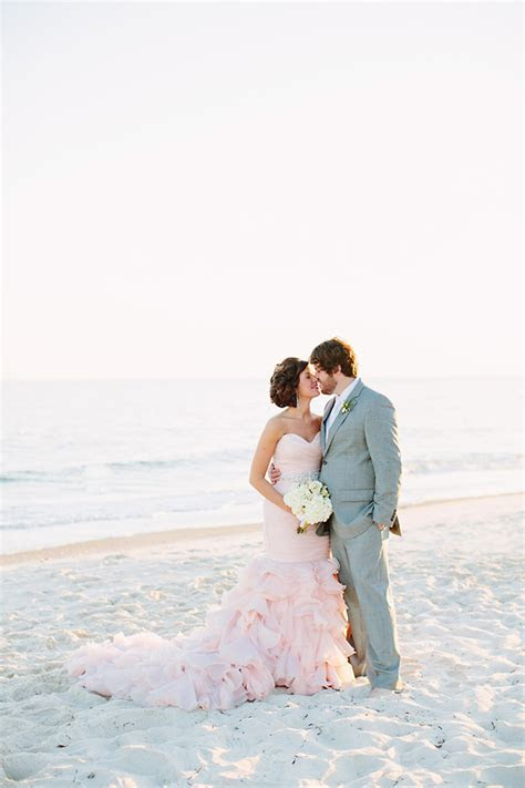 Blush Wedding Dress on the Beach   Best Wedding Blog