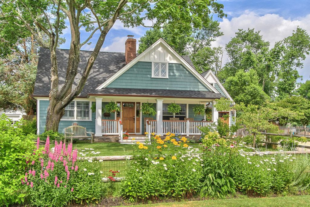 Cottage Exterior of Home with Covered porch