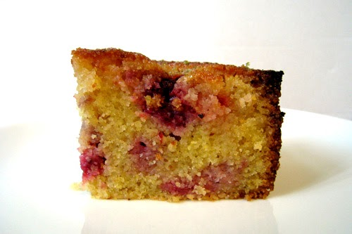 Raspberry Lemon Polenta Cake