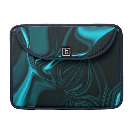 Curves in blue turquoise, deep or cyan sky MacBook pro sleeve