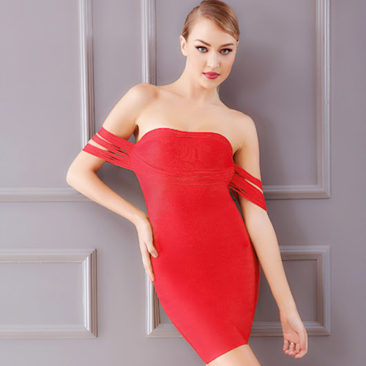 strapless red backless cut details 2018 women's newest arrival mini length backless bandage dress