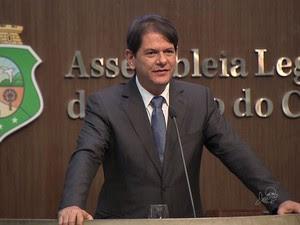 Cid Gomes fez último como governador discurso na Assembleia Legislativa (Foto: TV Verdes Mares/Reprodução)