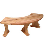 "All Things Cedar QR60 60"" Quarter Round Backless Bench with Plank Style Top, Western Red Cedar Construction and Hand Crafted"